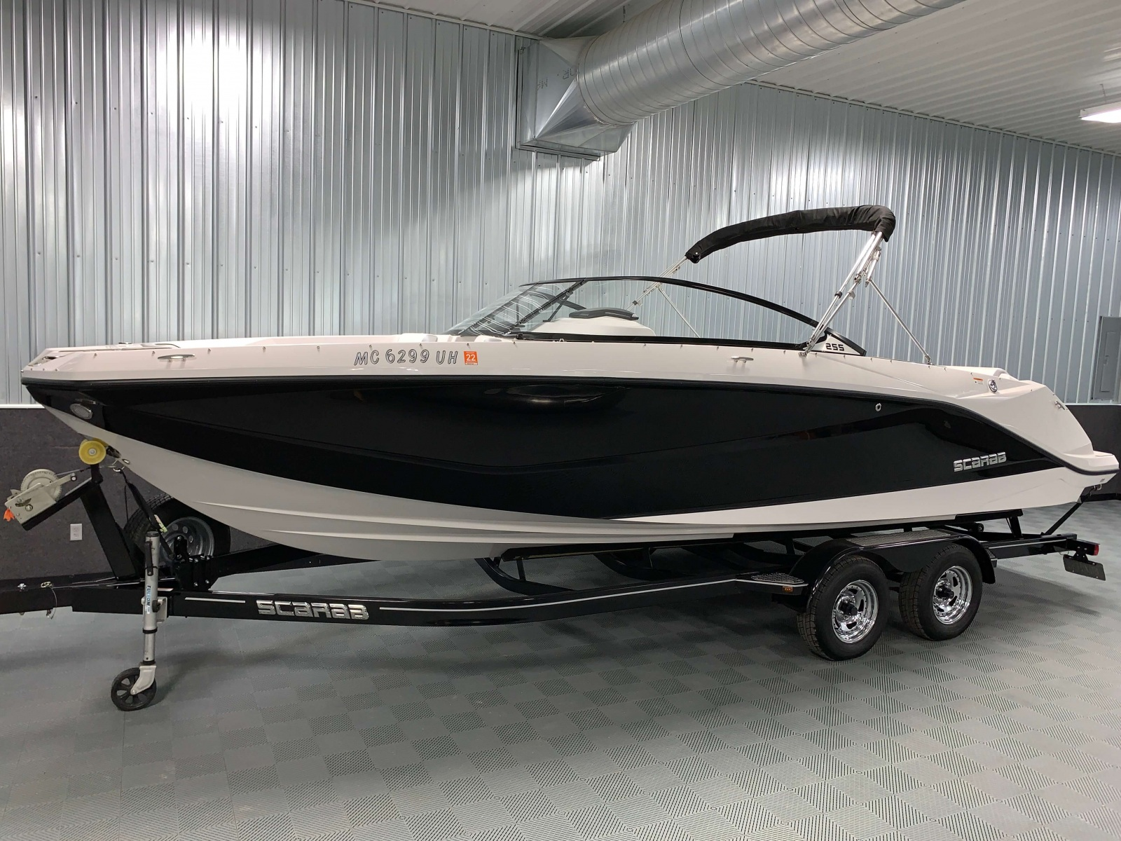 Jet Black Exterior Color of a 2018 Scarab Jet 255 G Jet Boat