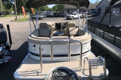 Rear Swim Deck with Ski Tow Bar Black and White Exterior of a 2019 Berkshire 23RFX STS Luxury Pontoon
