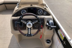 Driver's Console with Touchscreen Simrad GPS of a 2019 Berkshire 23RFX STS Pontoon