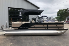Tan and Black Exterior of a 2019 Berkshire 23RFX STS Pontoon 3
