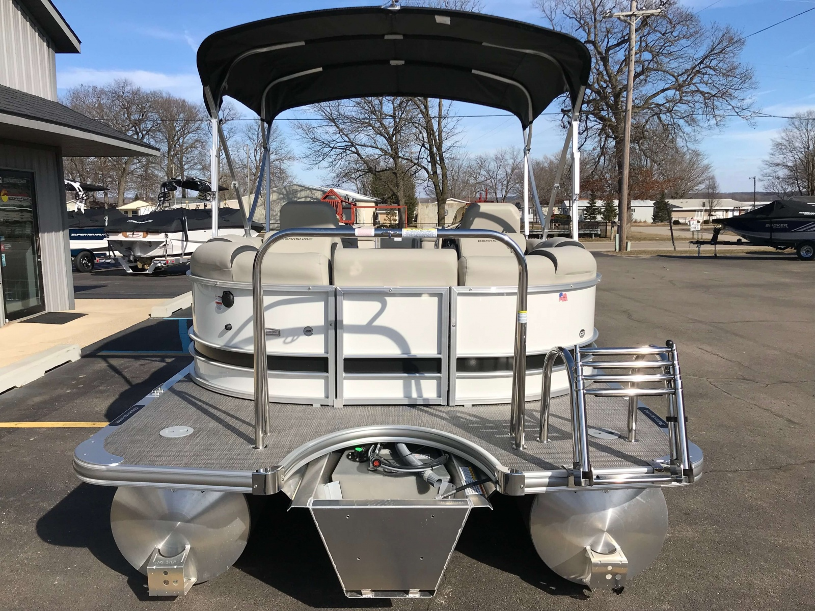 Rear Swim Deck with Ski Tow Bar of a 2019 Berkshire 23RFX STS Pontoon