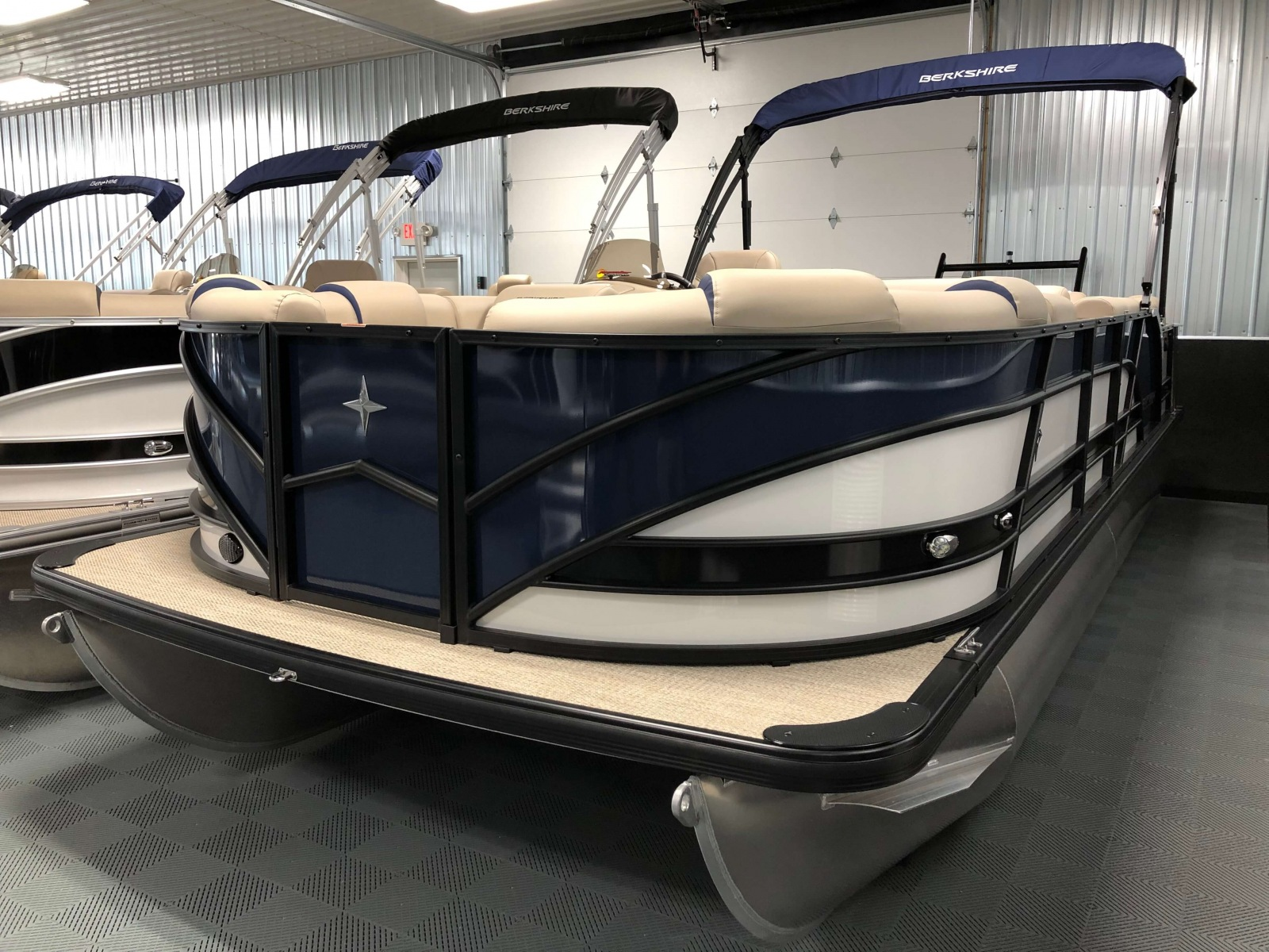 Tri-Colored Exterior of a 2019 Berkshire 23SB2 STS Pontoon