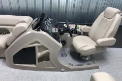 Raised Helm of a 2020 Premier 220 Sunsation RE Pontoon Boat