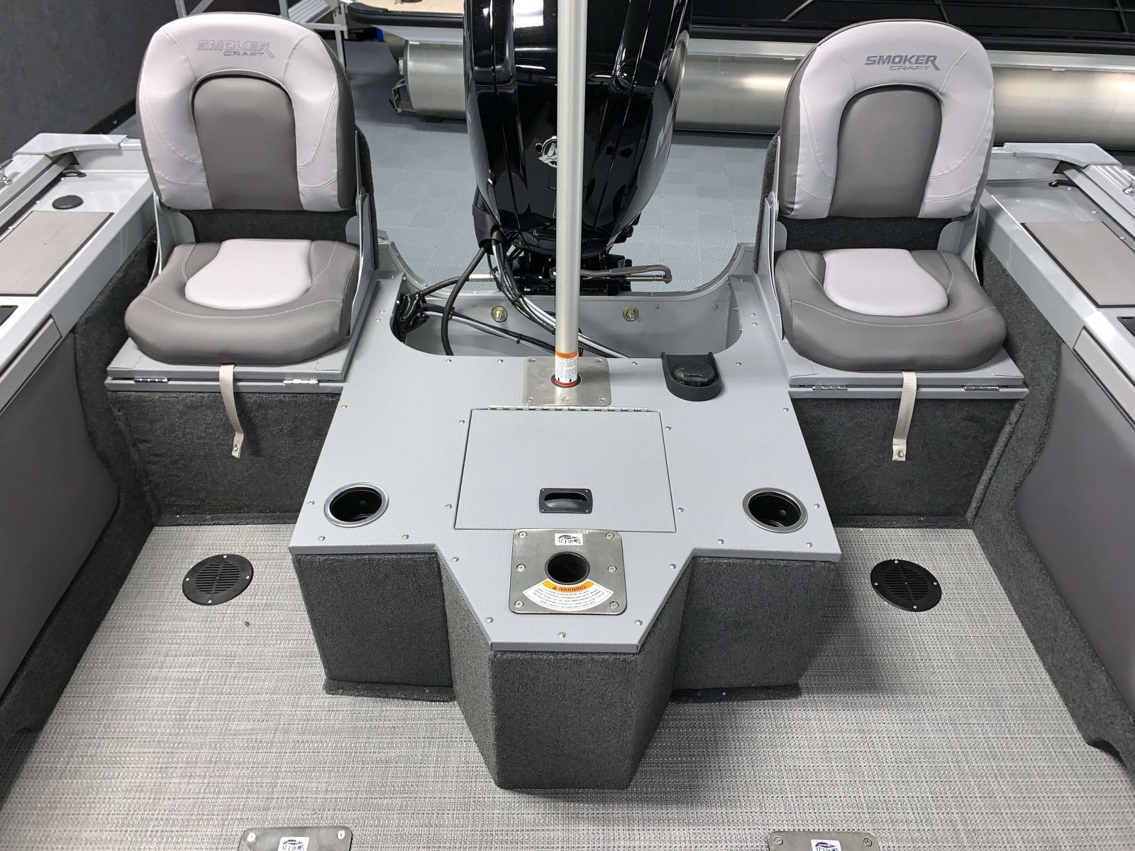 Flip-Up Rear Jump Seats of a 2020 Smoker Craft 172 Explorer Fish And Ski Boat