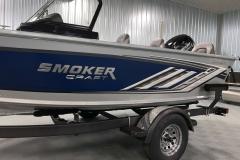 Chrome Emblem of a 2020 Smoker Craft 172 Explorer Fish And Ski Boat