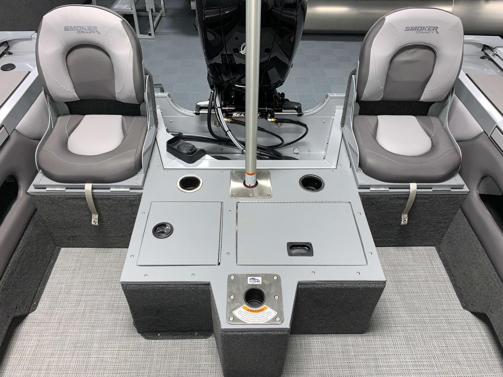 Rear Jump Seats of a 2020 Smoker Craft 182 Explorer Fish And Ski Boat