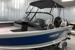 Fisherman's Top with Visor of a 2020 Smoker Craft 182 Explorer Fish And Ski Boat