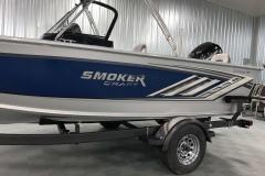 Chrome Smoker Craft Emblem of a 2020 Smoker Craft 182 Explorer Fish And Ski Boat