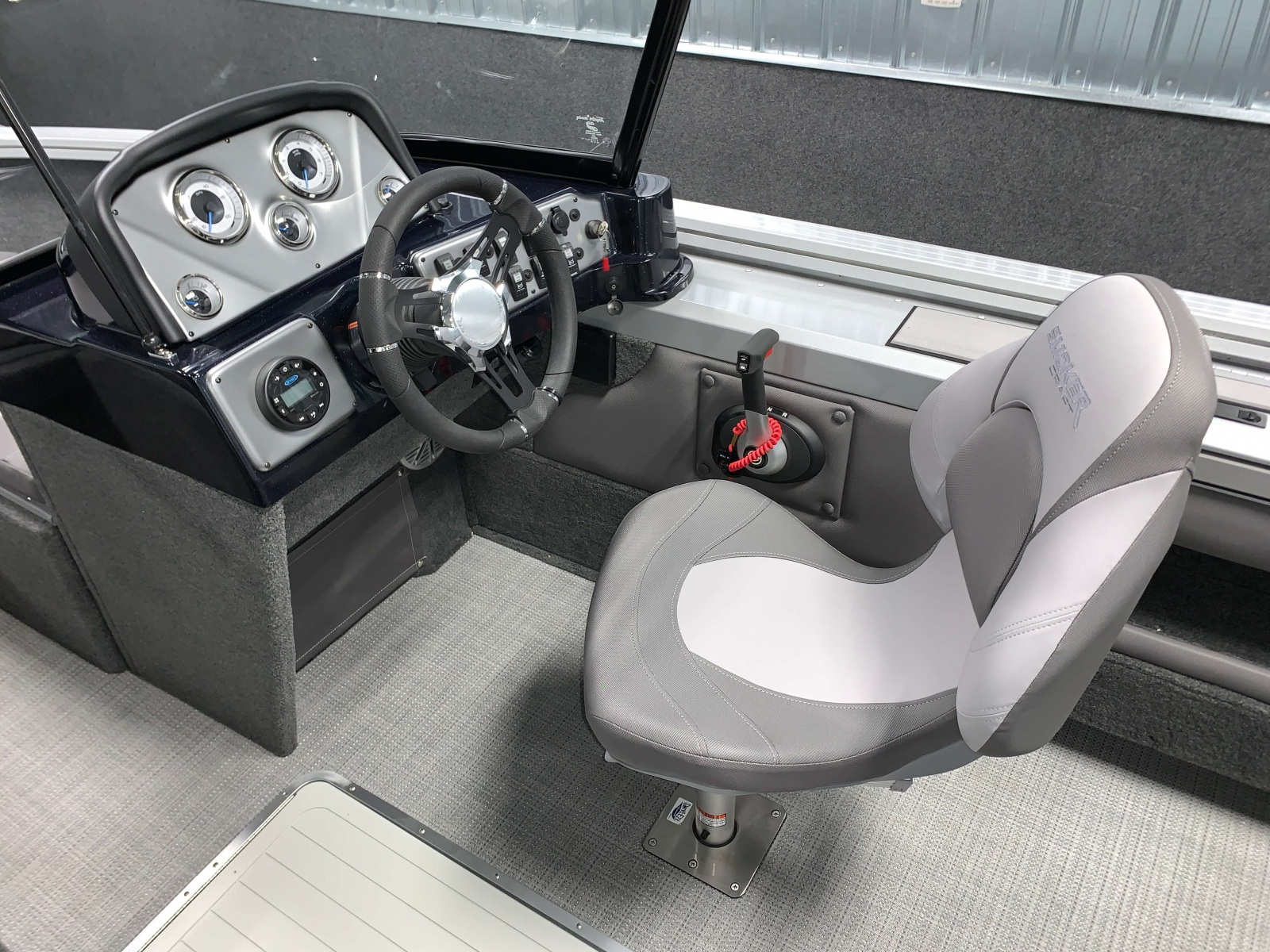Driver's Console of a 2020 Smoker Craft 182 Explorer Fish And Ski Boat