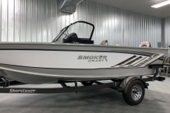 Two-Tone Paint Scheme of a 2020 Smoker Craft 182 Explorer Fish And Ski Boat