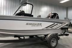 Chrome Emblem of a 2020 Smoker Craft 182 Pro Mag Fishing Boat