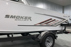 Red Accented Decals of a 2020 Smoker Craft Phantom 18 X2 Fishing Boat