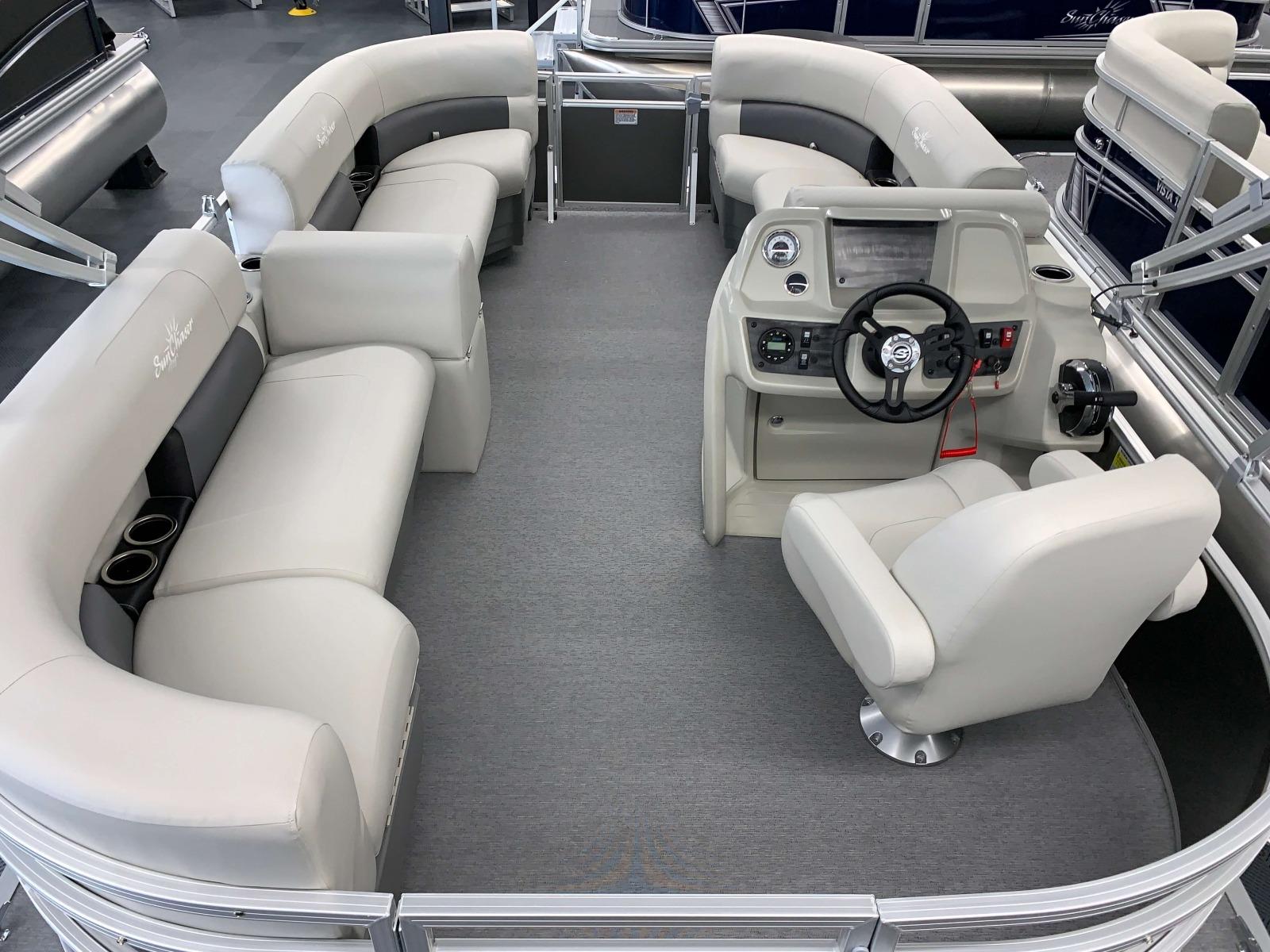 Sea Weave Vinyl Floor of a 2020 SunChaser Vista 16 LR Pontoon Boat