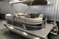Carbon Exterior Color of a 2020 SunChaser Vista 16 LR Pontoon Boat 3