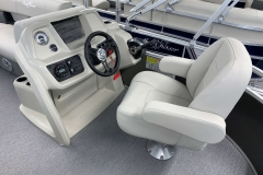 Helm and Captain's Chair of a 2020 SunChaser Vista 16 LR Pontoon Boat
