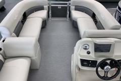 Interior Bow Layout of a 2020 SunChaser Vista 16 LR Pontoon Boat