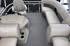 Interior Rear Layout of a 2020 SunChaser Vista 16 LR Pontoon Boat