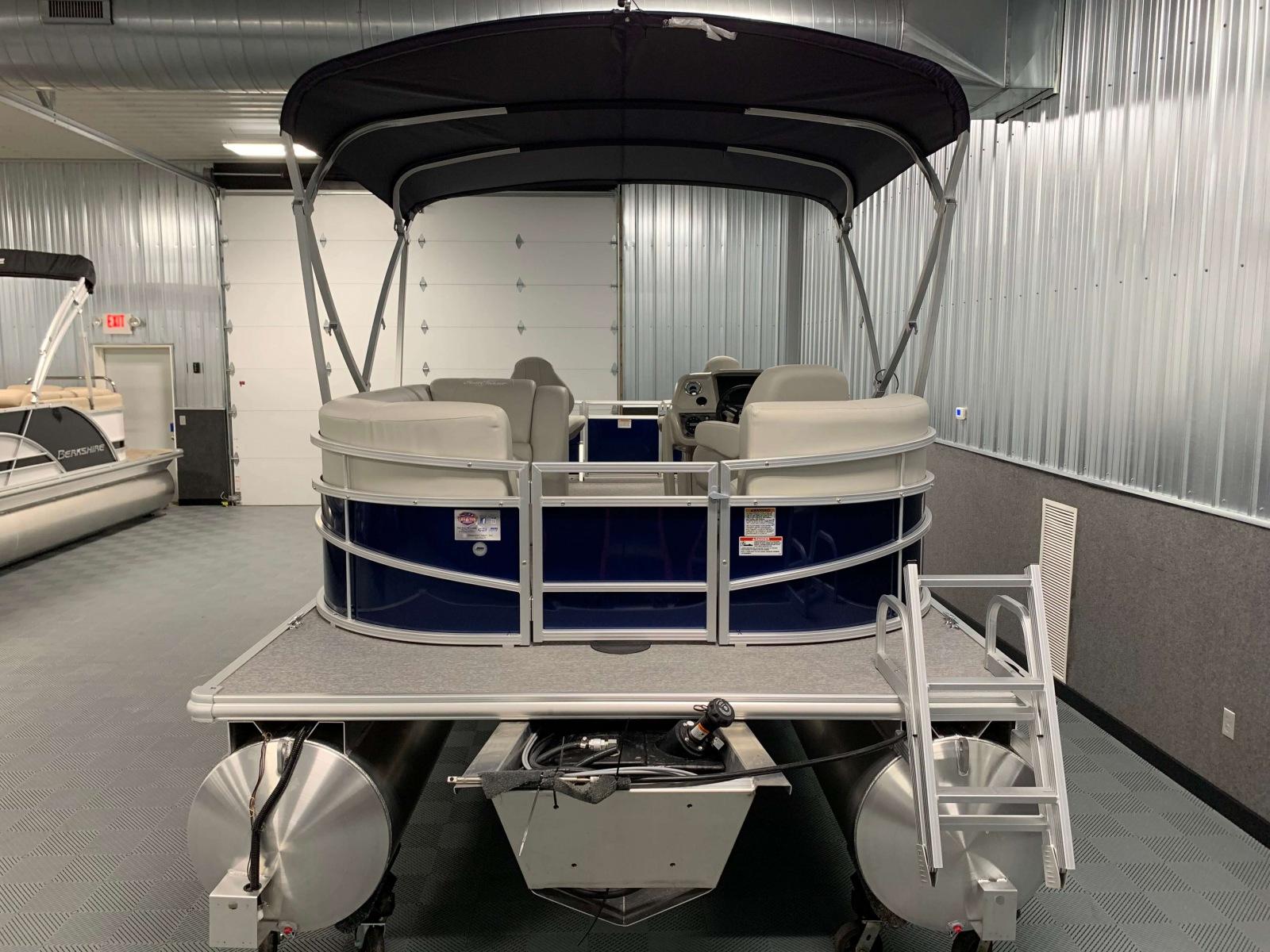 Rear Swim Platform of a 2020 SunChaser Vista 18 Fish Pontoon Boat