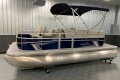 Blue Exterior Color of a 2020 SunChaser Vista 18 Fish Pontoon Boat