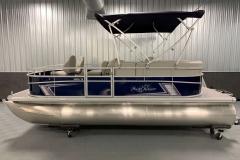 Blue Exterior Color of a 2020 SunChaser Vista 18 Fish Pontoon Boat 2