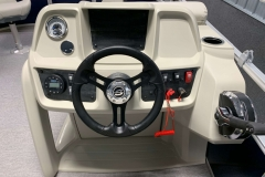 Driver's Console of a 2020 SunChaser Vista 18 Fish Pontoon Boat