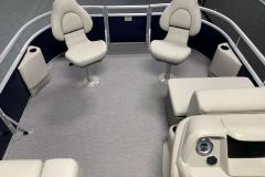 Interior Bow Layout of a 2020 SunChaser Vista 18 Fish Pontoon Boat