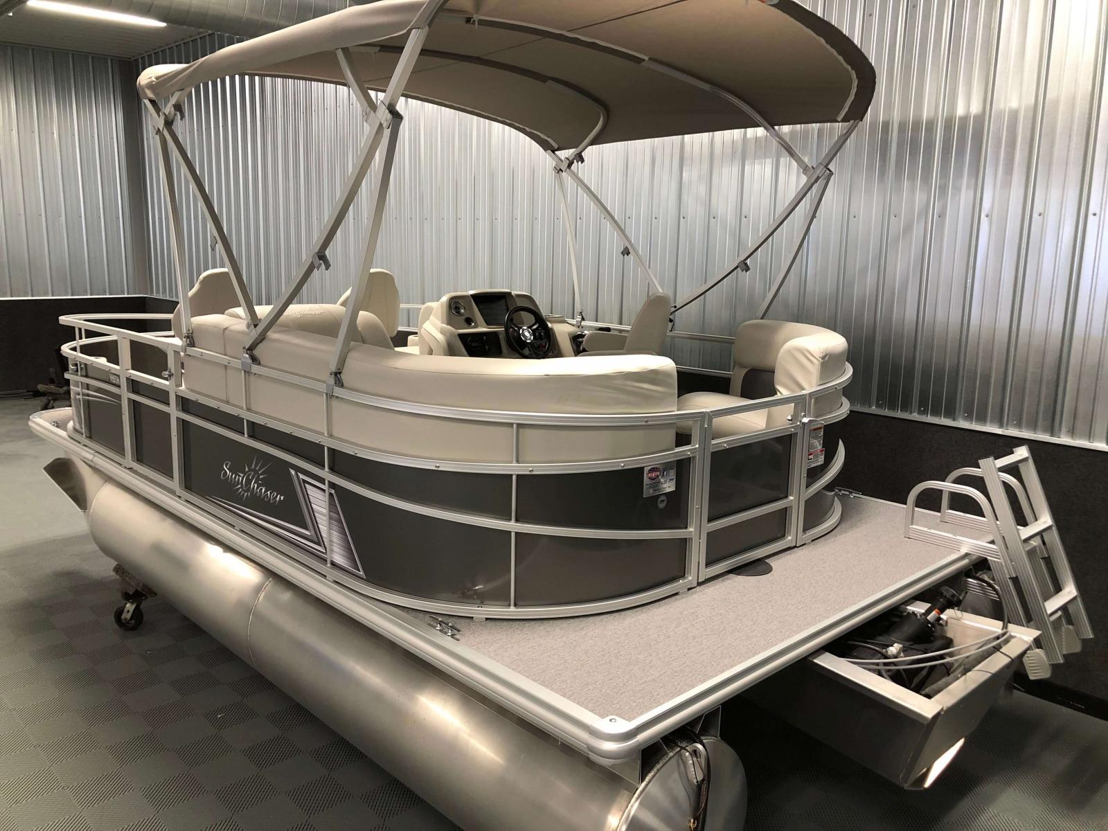 Rear Swim Deck of a 2020 SunChaser Vista 18 Fish Pontoon Boat