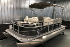 Carbon Exterior Color of a 2020 SunChaser Vista 18 Fish Pontoon Boat