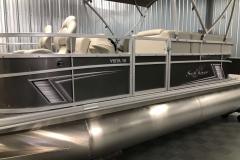 Carbon Exterior Color of a 2020 SunChaser Vista 18 Fish Pontoon Boat 2