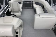 Interior Rear Layout of a 2020 SunChaser Vista 18 Fish Pontoon Boat