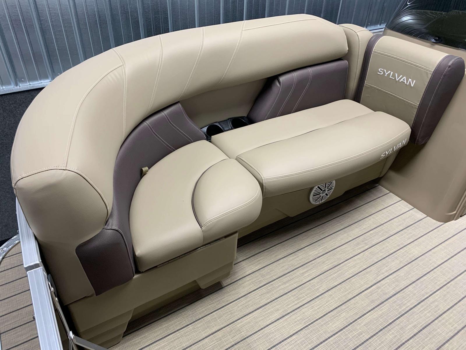Tan Interior Seating of a 2020 Sylvan Mirage 820 Cruise Pontoon 2