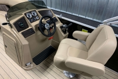 Helm and Captain's Chair of a 2021 Sylvan Mirage 820 Cruise Pontoon