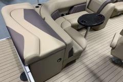 Tan Interior Seating of a 2020 Sylvan Mirage 820 Cruise Pontoon 3