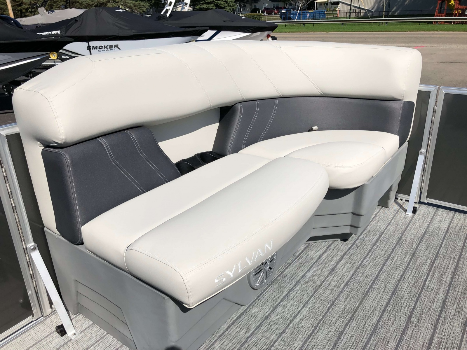 Gray Interior Seating of a 2020 Sylvan Mirage 820 Cruise Pontoon 2
