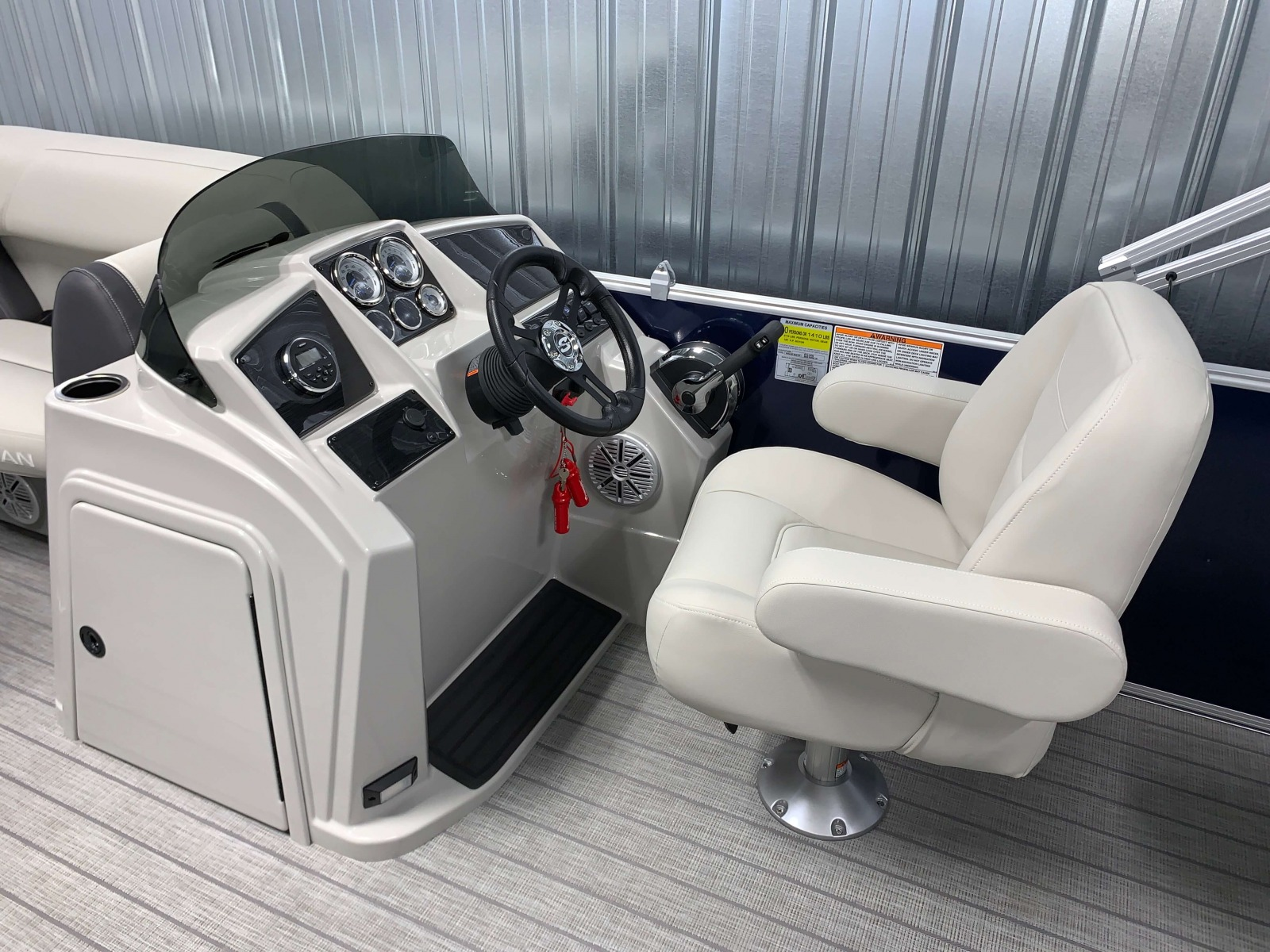 Fiberglass Helm of a 2021 Sylvan 8520 Party Fish Pontoon Boat