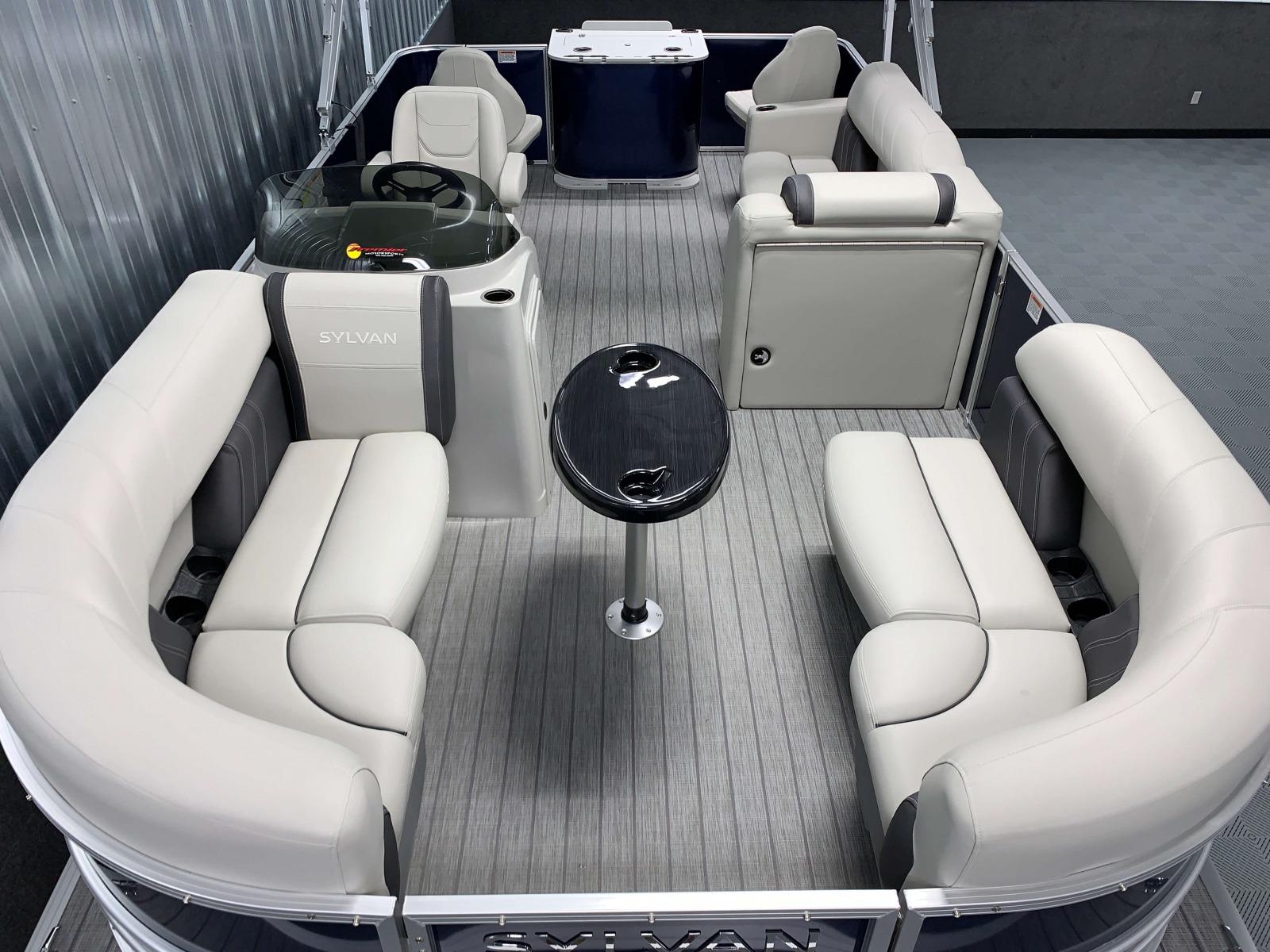 Teak Weave Vinyl Flooring of a 2021 Sylvan 8520 Party Fish Pontoon Boat