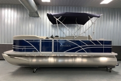 Blue Exterior Color of a 2020 Sylvan 8520 Party Fish Pontoon Boat 2