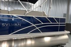 Blue Exterior Color of a 2021 Sylvan 8520 Party Fish Pontoon Boat 4