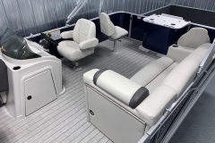Interior Rear Layout of a 2021 Sylvan 8520 Party Fish Pontoon Boat