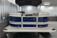 Blue and Silver Exterior of a 2020 Sylvan L1 Cruise Pontoon 2