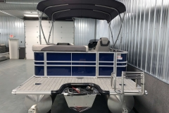 Blue and Silver Exterior of a 2020 Sylvan L1 Cruise Pontoon 6