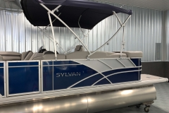 Blue and Silver Exterior of a 2020 Sylvan L1 Cruise Pontoon 4