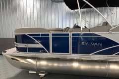 Blue and Silver Exterior of a 2020 Sylvan L1 Cruise Pontoon 3