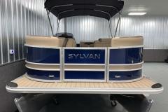 Blue and Tan Exterior of a 2020 Sylvan L1 Cruise Pontoon 2