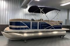 Blue and Tan Exterior of a 2020 Sylvan L1 Cruise Pontoon 1