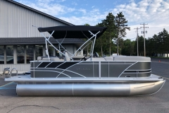 Carbon and Black Exterior of a 2020 Sylvan L1 Cruise Pontoon 3