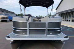 Carbon and Black Exterior of a 2020 Sylvan L1 Cruise Pontoon 2