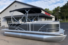 Carbon and Black Exterior of a 2020 Sylvan L1 Cruise Pontoon 1