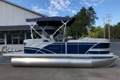 Blue and Silver Exterior of a 2020 Sylvan L1 LZ Pontoon 5