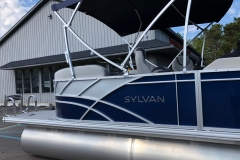 Blue and Silver Exterior of a 2020 Sylvan L1 LZ Pontoon 4
